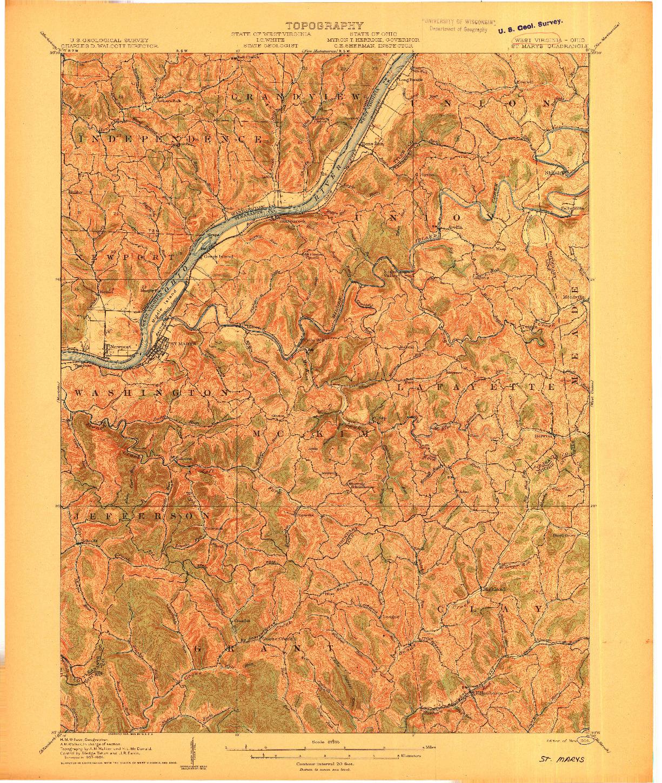 USGS 1:62500-SCALE QUADRANGLE FOR SAINT MARYS, WV 1906