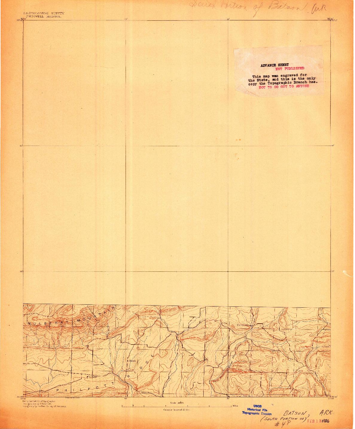 USGS 1:62500-SCALE QUADRANGLE FOR BATSON, AR 1906
