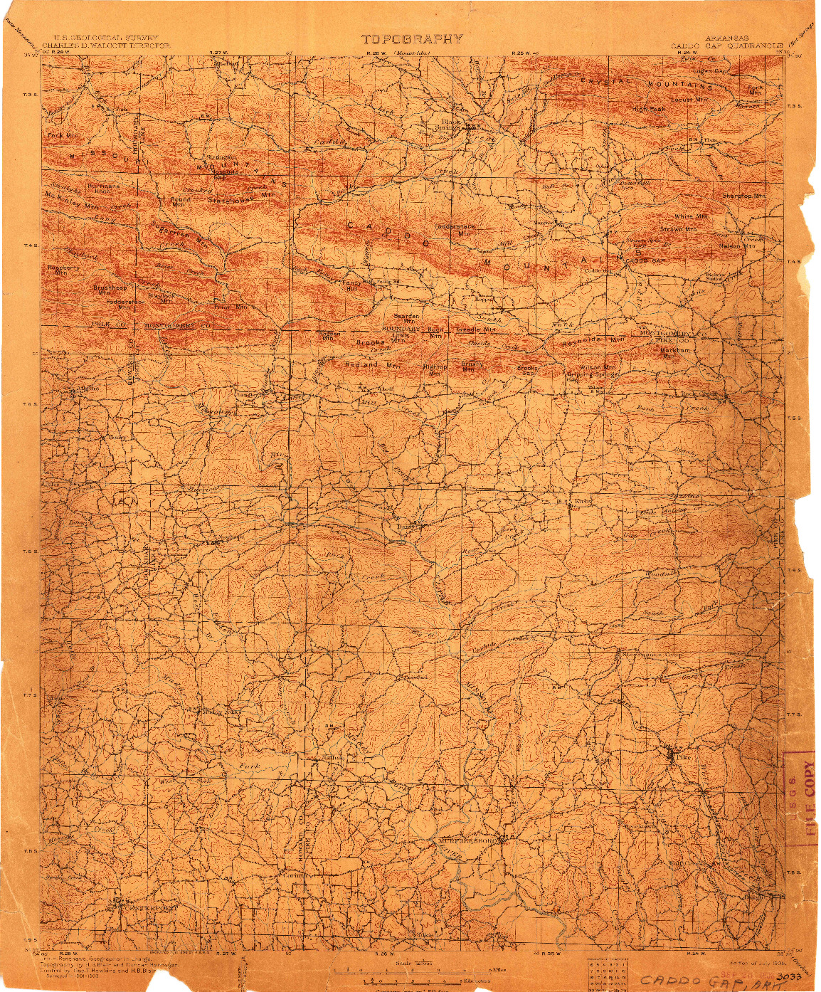 USGS 1:125000-SCALE QUADRANGLE FOR CADDO GAP, AR 1906
