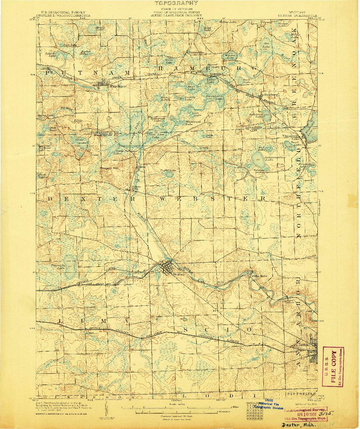 USGS 1:62500-SCALE QUADRANGLE FOR DEXTER, MI 1906