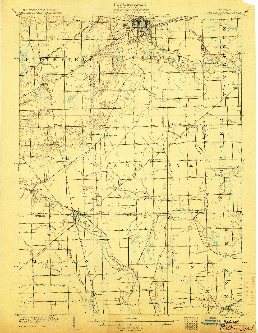 USGS 1:62500-SCALE QUADRANGLE FOR YPSILANTI, MI 1906