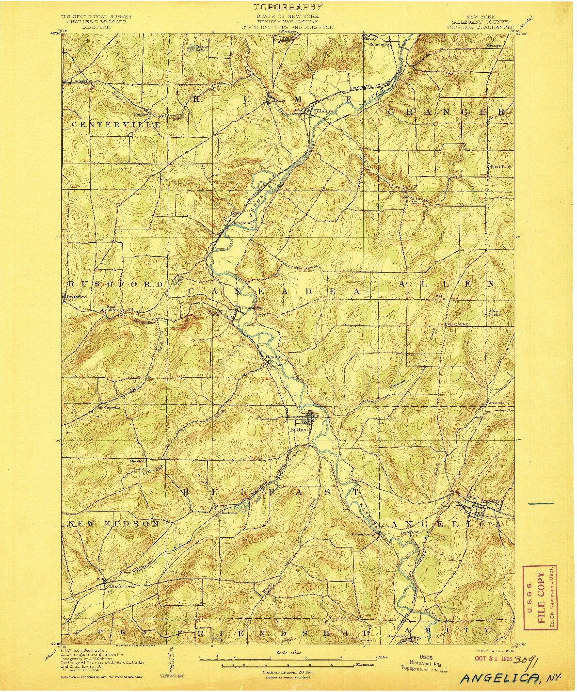 USGS 1:62500-SCALE QUADRANGLE FOR ANGELICA, NY 1906