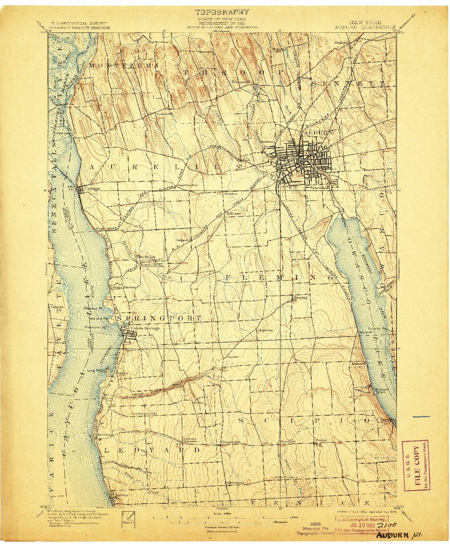 USGS 1:62500-SCALE QUADRANGLE FOR AUBURN, NY 1902