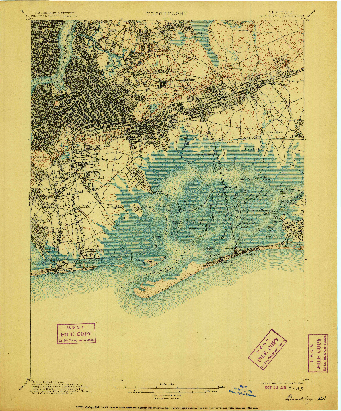 USGS 1:62500-SCALE QUADRANGLE FOR BROOKLYN, NY 1900