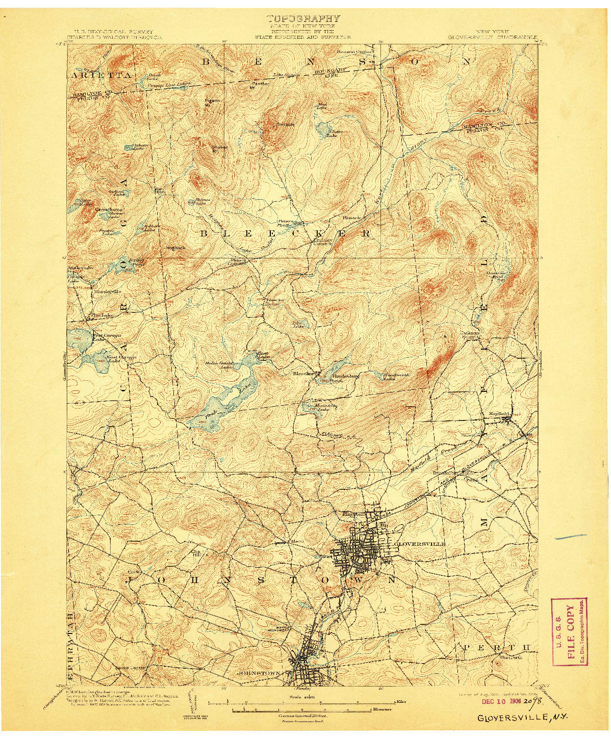 USGS 1:62500-SCALE QUADRANGLE FOR GLOVERSVILLE, NY 1903