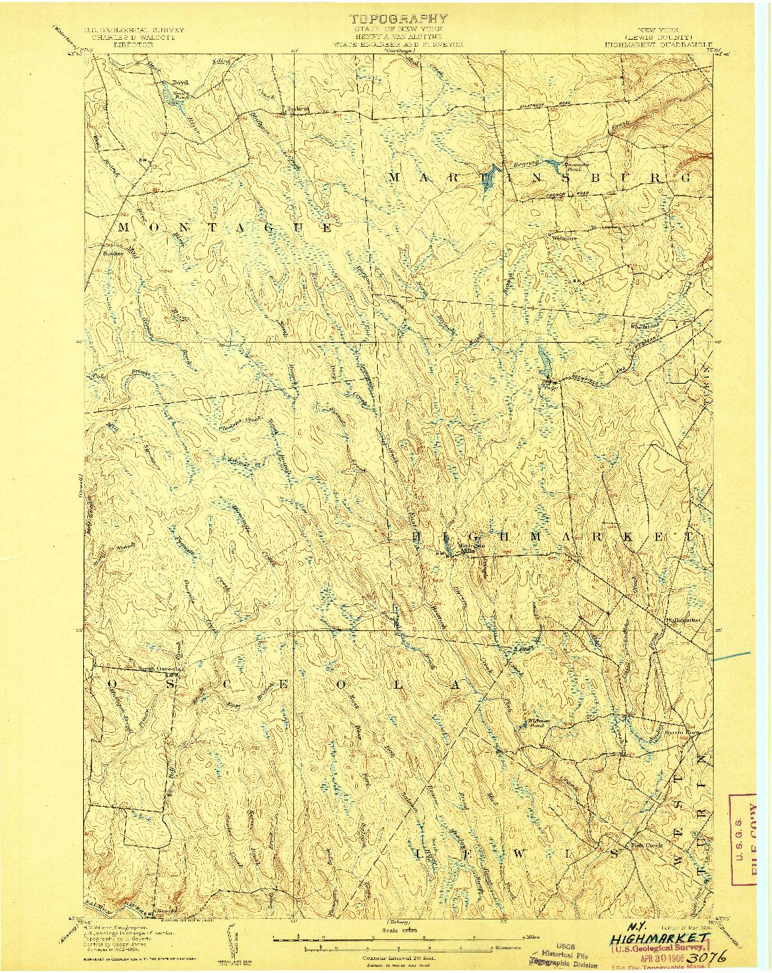 USGS 1:62500-SCALE QUADRANGLE FOR HIGHMARKET, NY 1906
