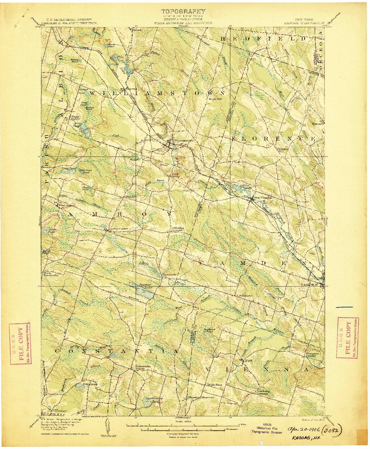 USGS 1:62500-SCALE QUADRANGLE FOR KASOAG, NY 1906