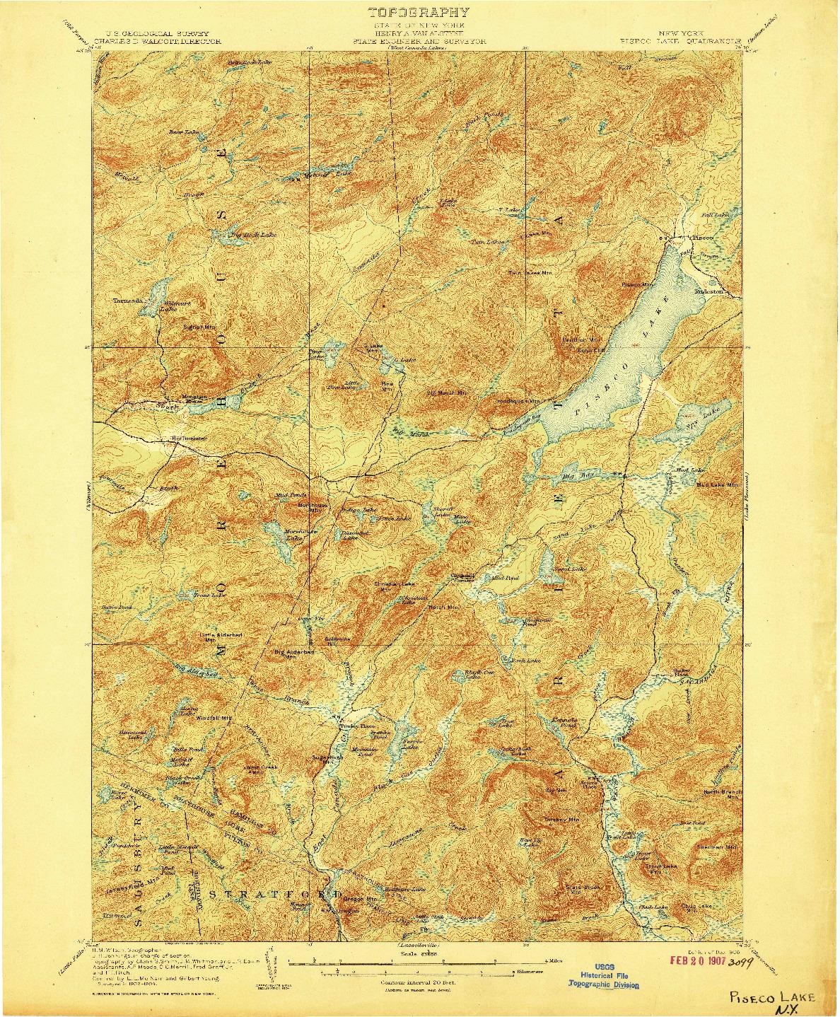 USGS 1:62500-SCALE QUADRANGLE FOR PISECO LAKE, NY 1906