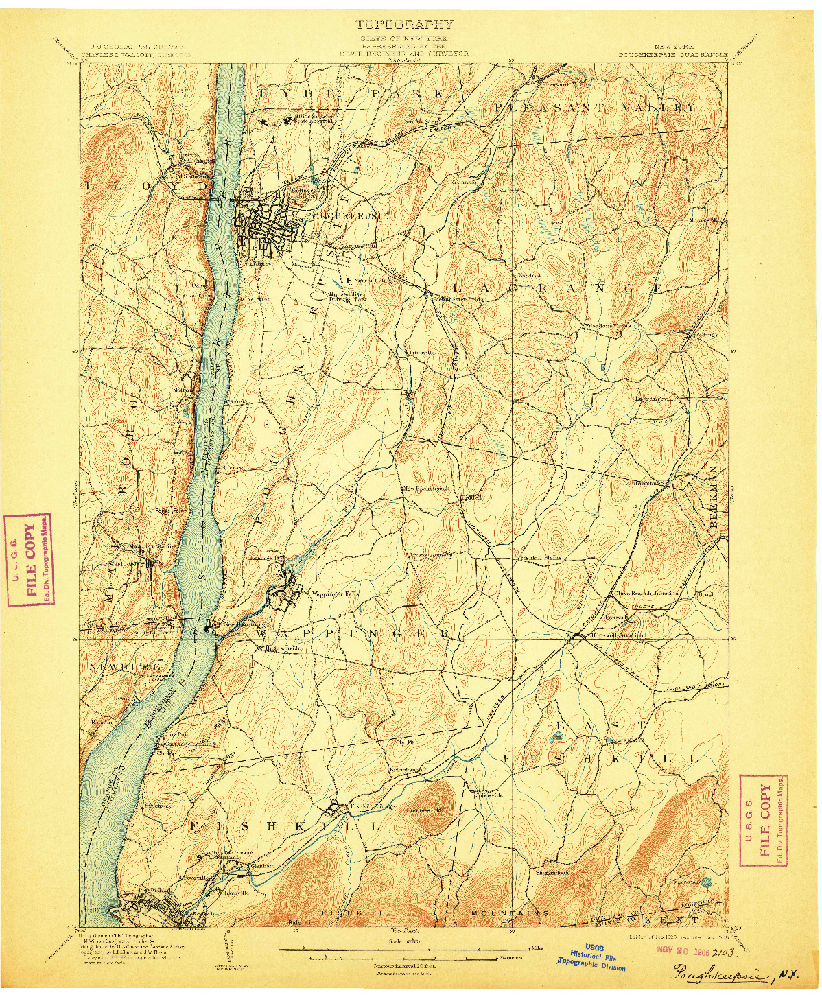 USGS 1:62500-SCALE QUADRANGLE FOR POUGHKEEPSIE, NY 1903