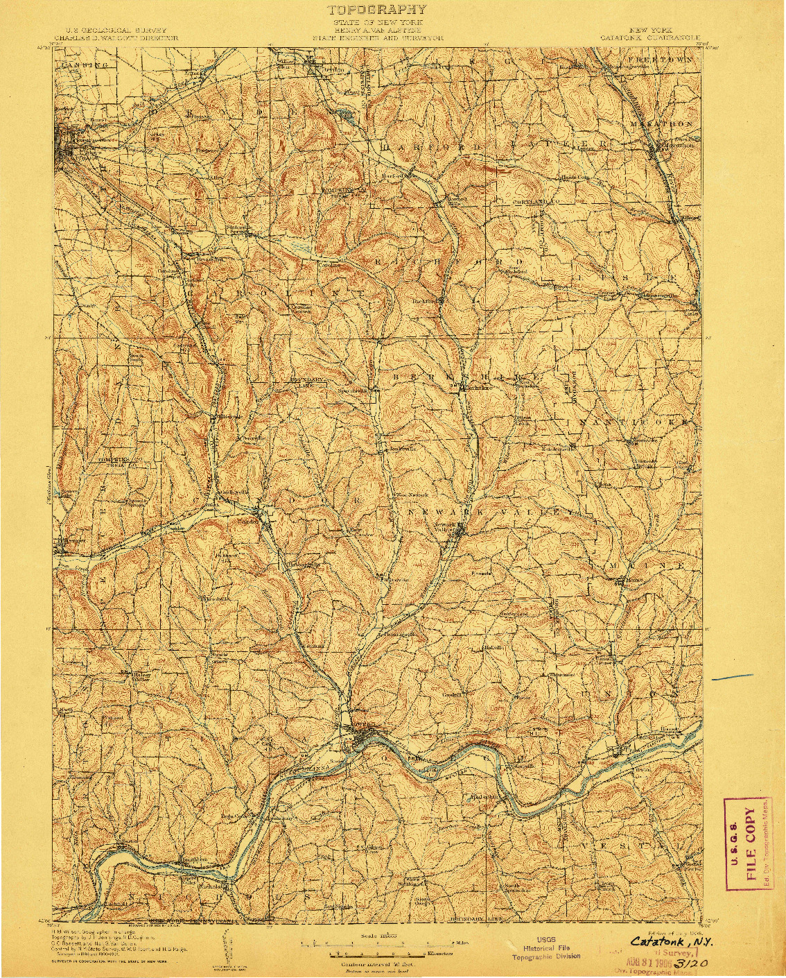 USGS 1:125000-SCALE QUADRANGLE FOR CATATONK, NY 1906