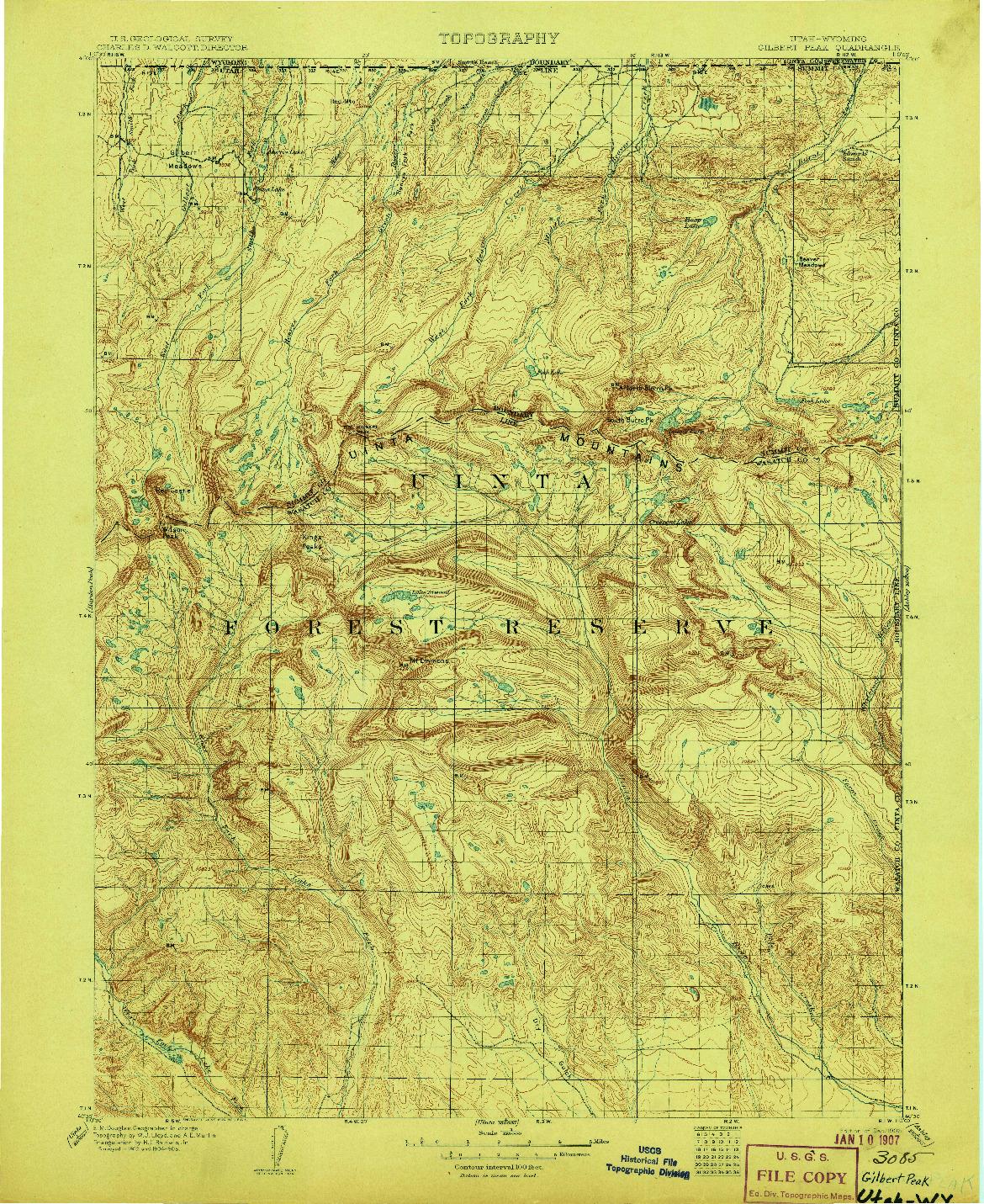 USGS 1:125000-SCALE QUADRANGLE FOR GILBERT PEAK, UT 1906