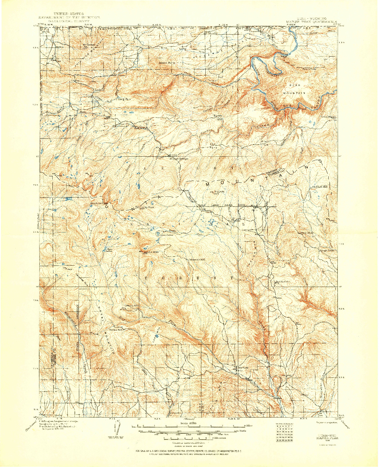 USGS 1:125000-SCALE QUADRANGLE FOR MARSH PEAK, UT 1906