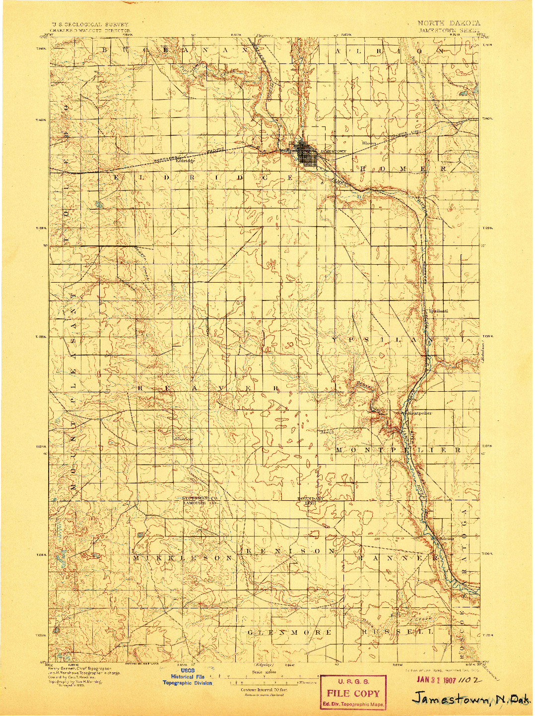 USGS 1:125000-SCALE QUADRANGLE FOR JAMESTOWN, ND 1896