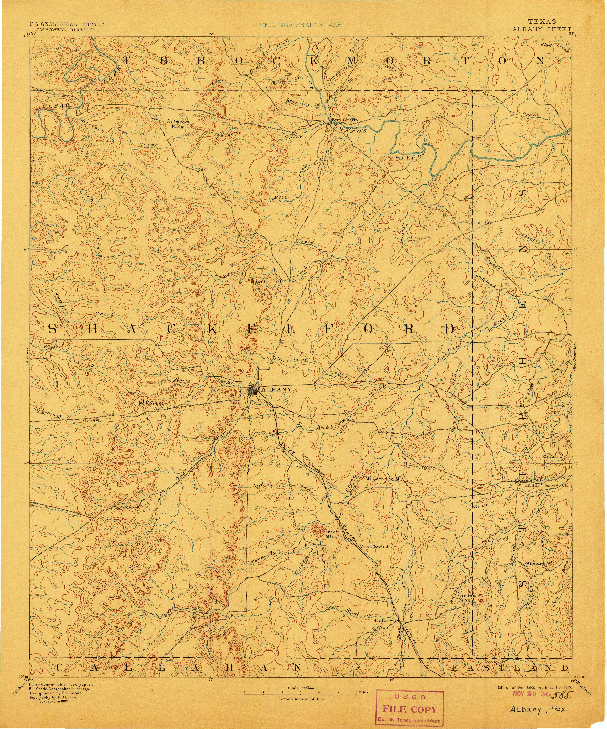 USGS 1:125000-SCALE QUADRANGLE FOR ALBANY, TX 1893