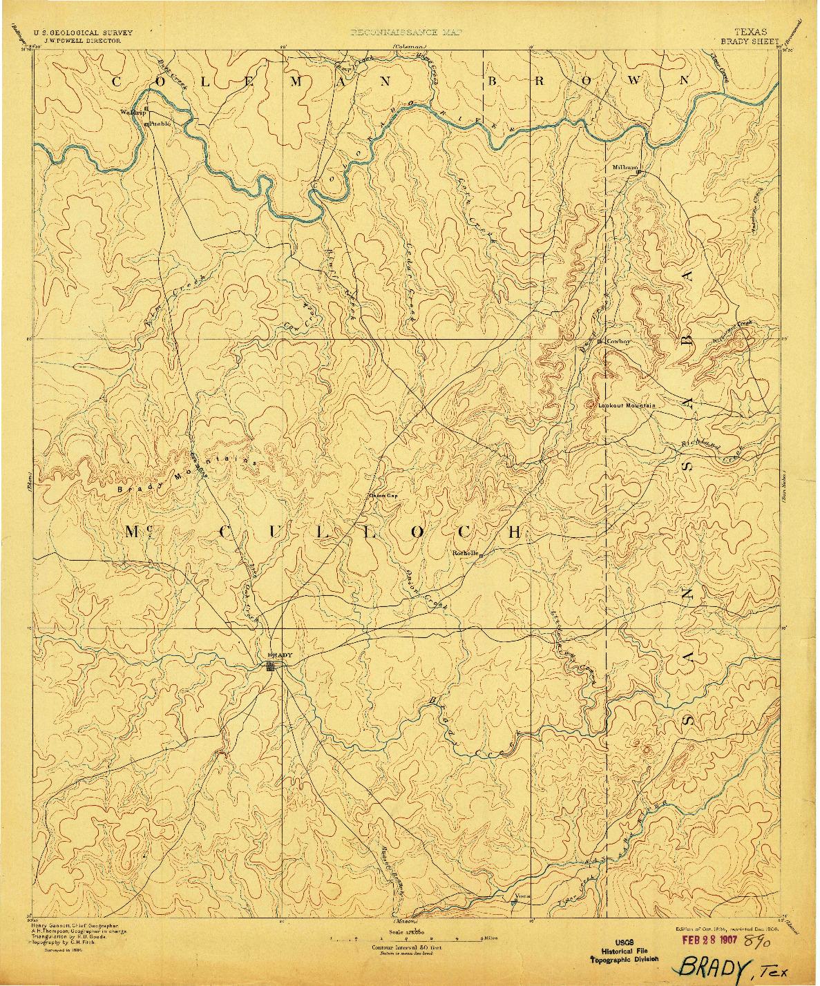 USGS 1:125000-SCALE QUADRANGLE FOR BRADY, TX 1894