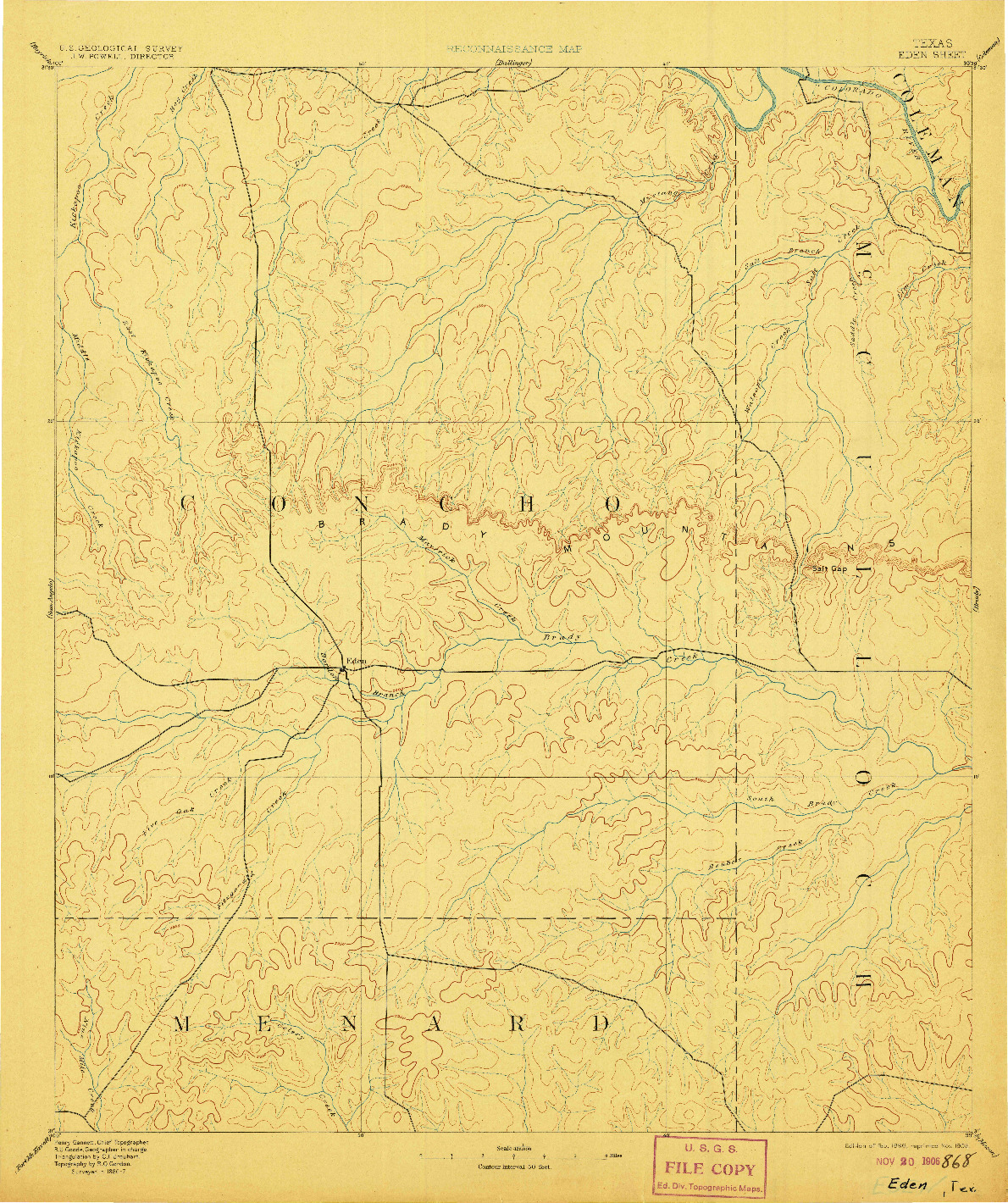 USGS 1:125000-SCALE QUADRANGLE FOR EDEN, TX 1896