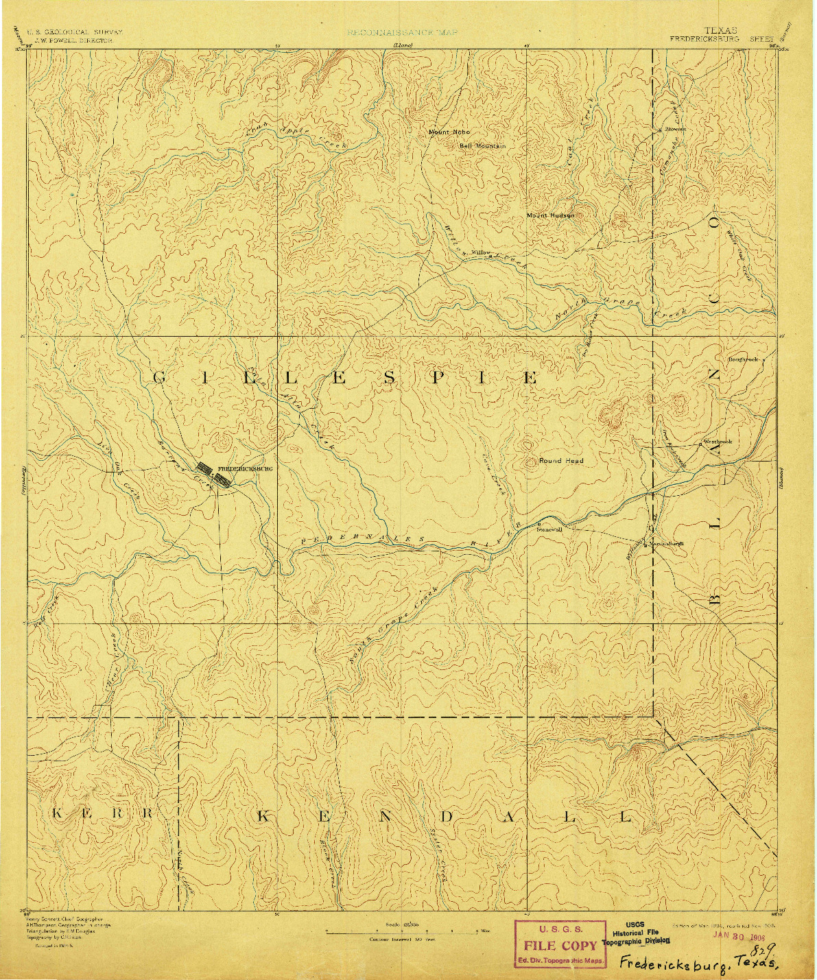 USGS 1:125000-SCALE QUADRANGLE FOR FREDERICKSBURG, TX 1894
