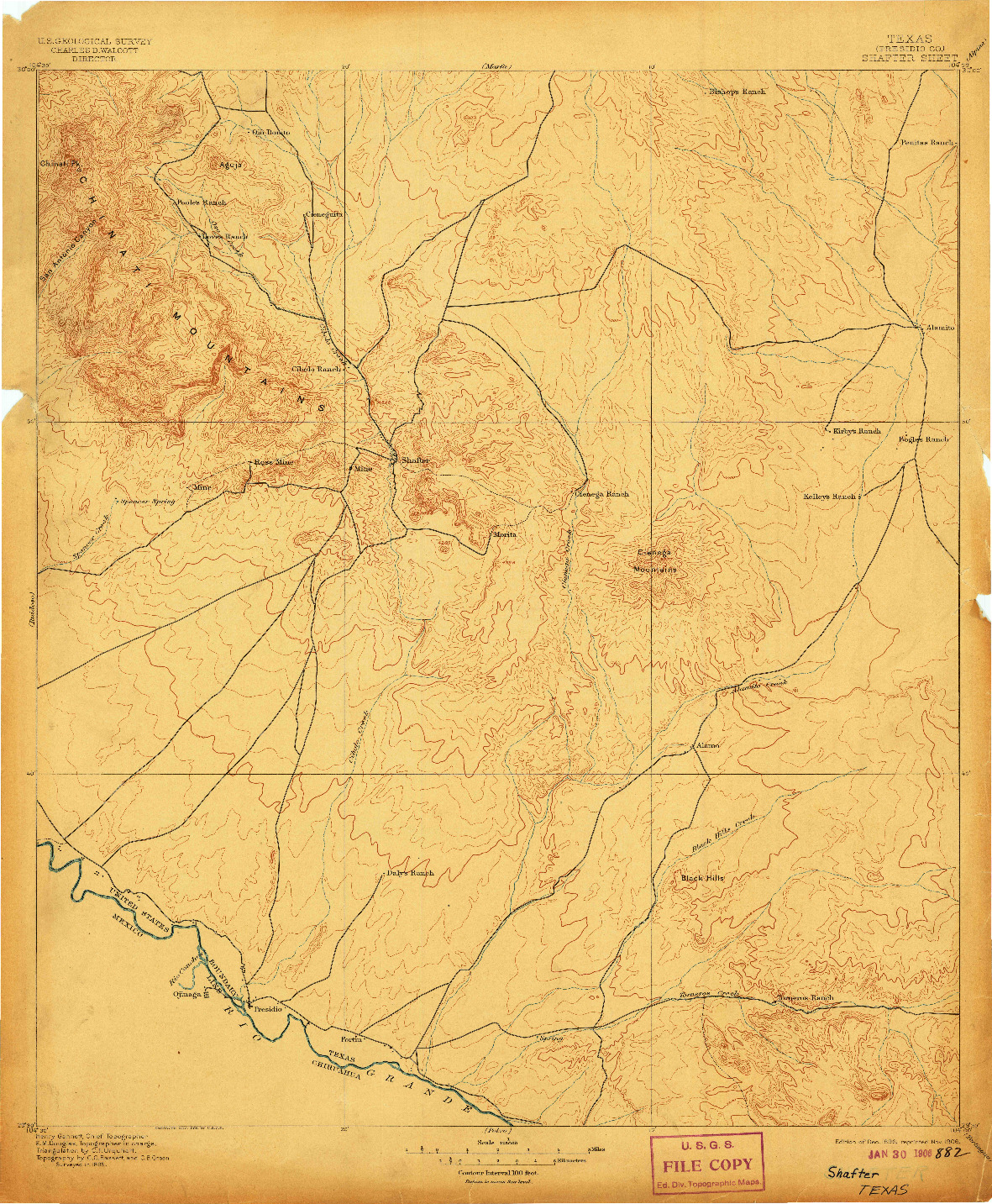 USGS 1:125000-SCALE QUADRANGLE FOR SHAFTER, TX 1896