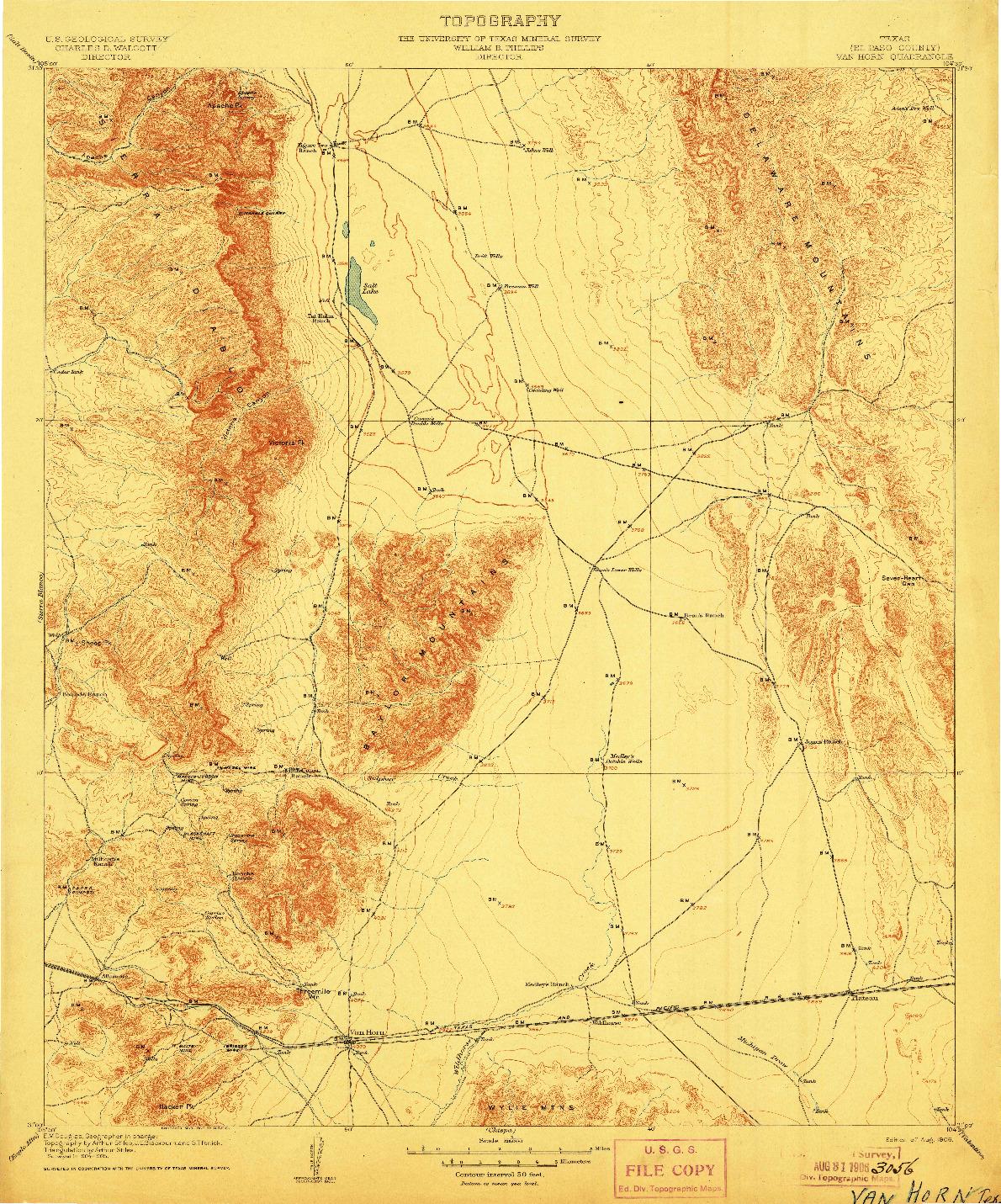 USGS 1:125000-SCALE QUADRANGLE FOR VAN HORN, TX 1906