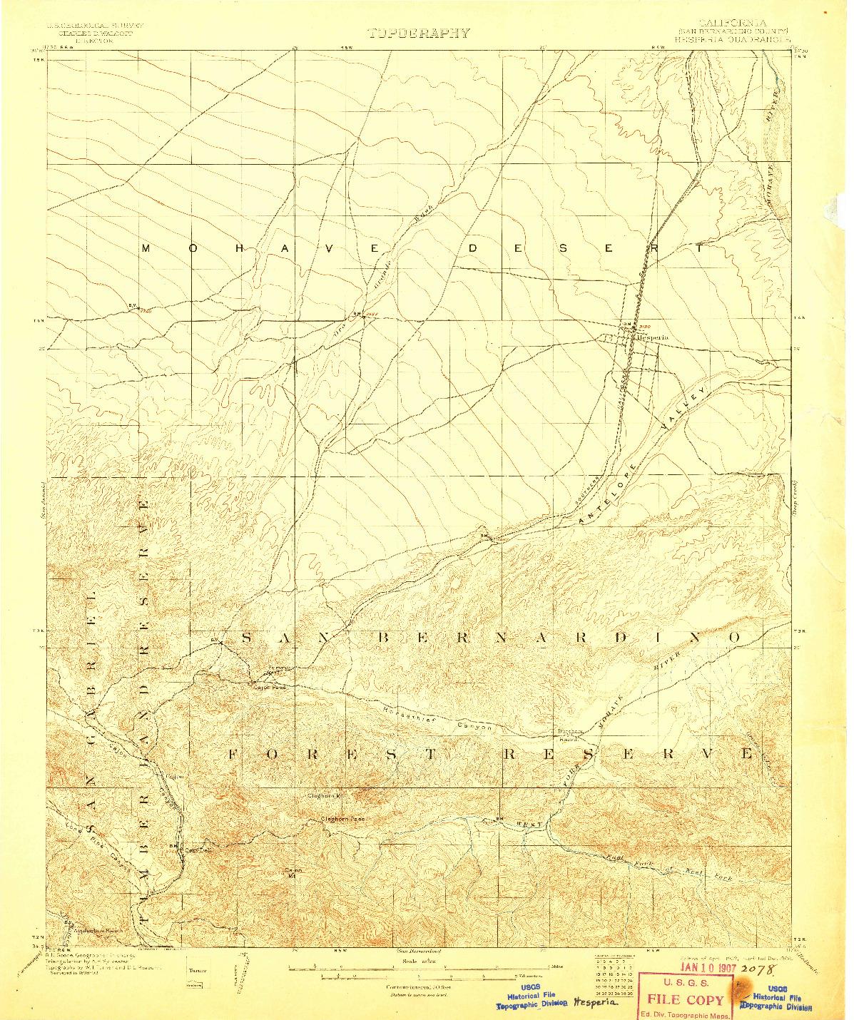 USGS 1:62500-SCALE QUADRANGLE FOR HESPERIA, CA 1902