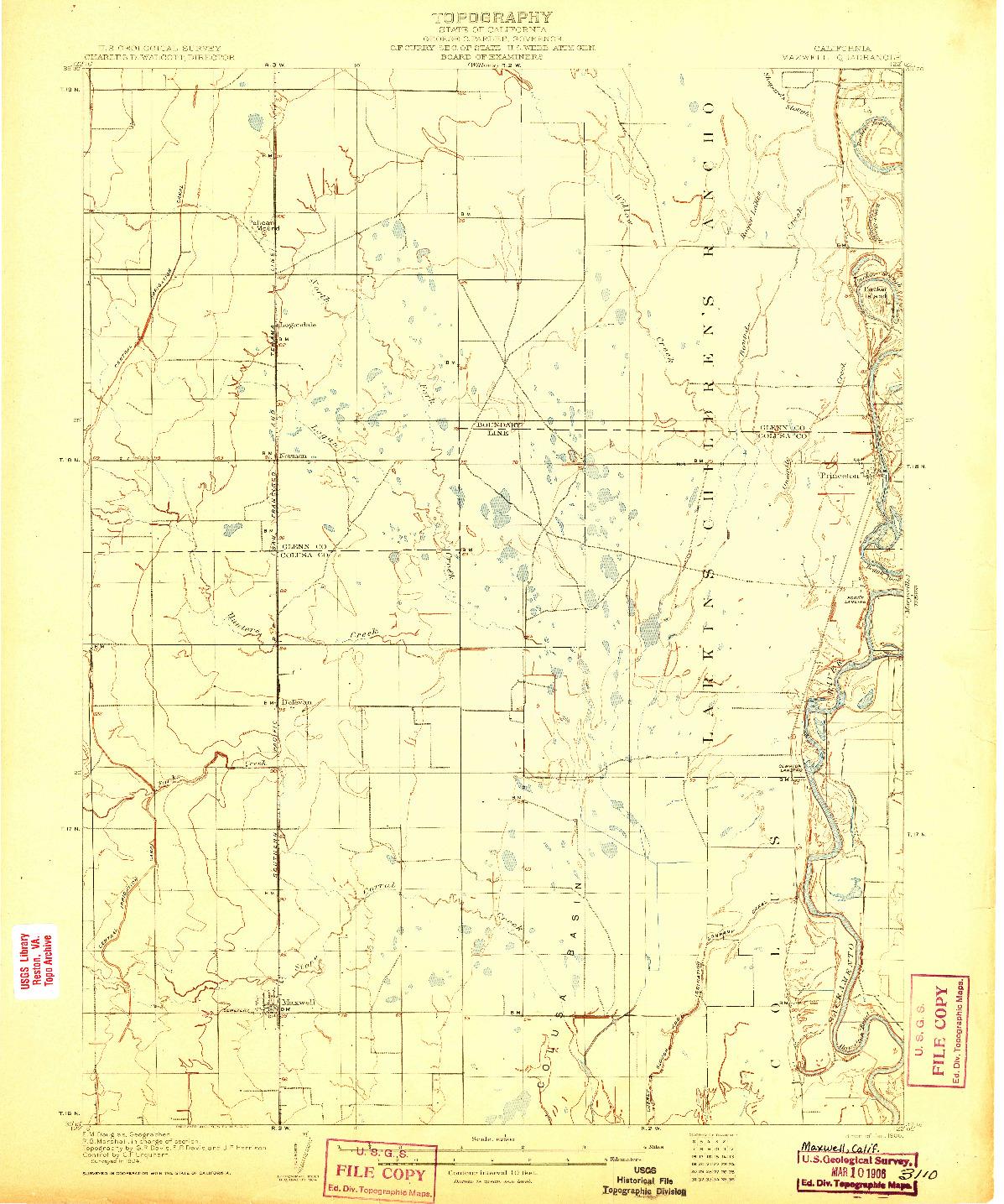 USGS 1:62500-SCALE QUADRANGLE FOR MAXWELL, CA 1906