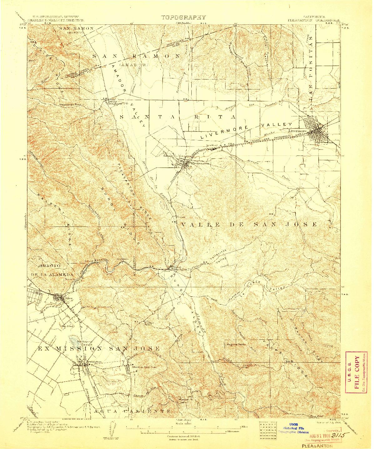 USGS 1:62500-SCALE QUADRANGLE FOR PLEASANTON, CA 1906