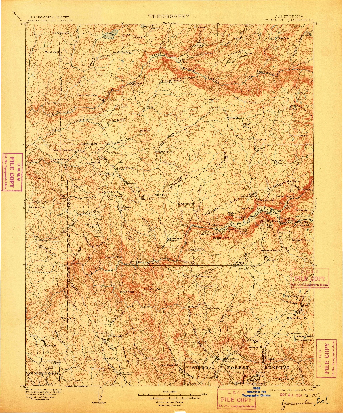 USGS 1:125000-SCALE QUADRANGLE FOR YOSEMITE, CA 1903