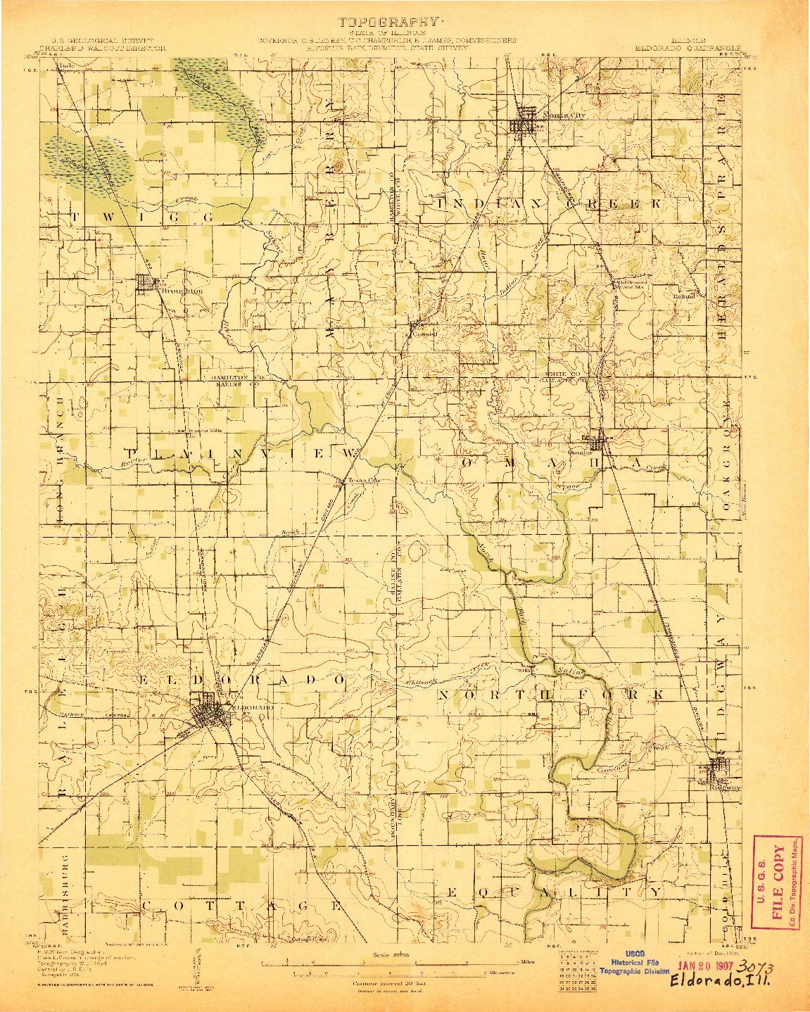 USGS 1:62500-SCALE QUADRANGLE FOR ELDORADO, IL 1906