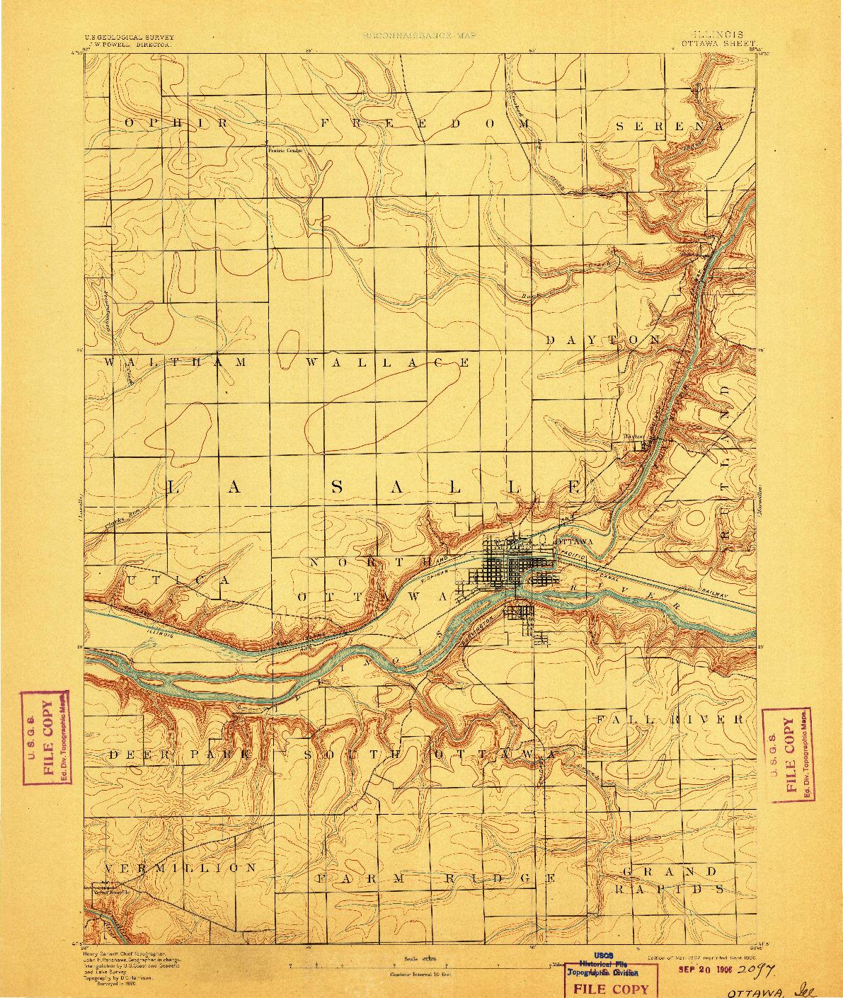 USGS 1:62500-SCALE QUADRANGLE FOR OTTAWA, IL 1892