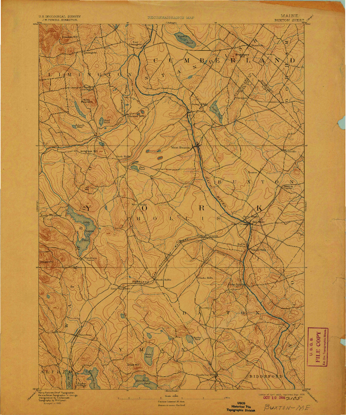 USGS 1:62500-SCALE QUADRANGLE FOR BUXTON, ME 1893