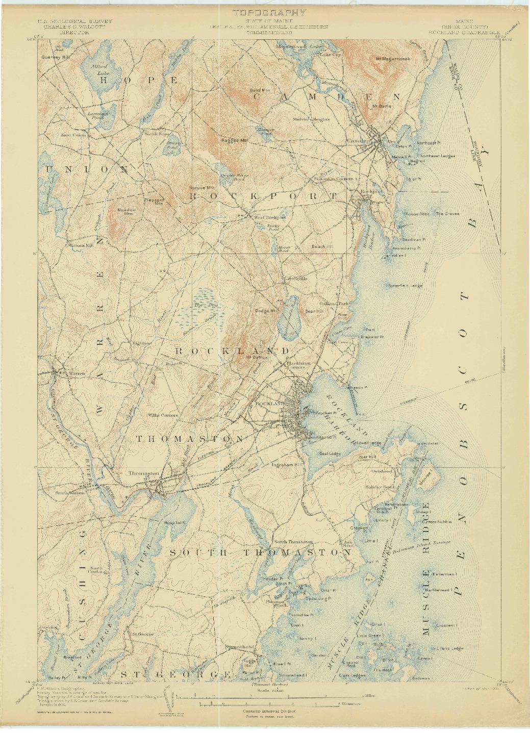 USGS 1:62500-SCALE QUADRANGLE FOR ROCKLAND, ME 1906