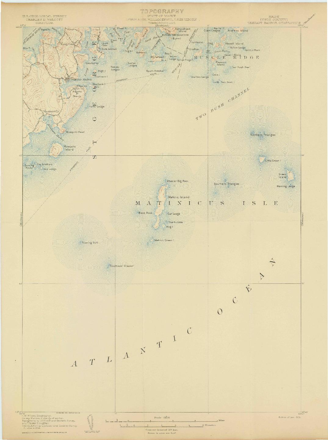 USGS 1:62500-SCALE QUADRANGLE FOR TENNANT HARBOR, ME 1906