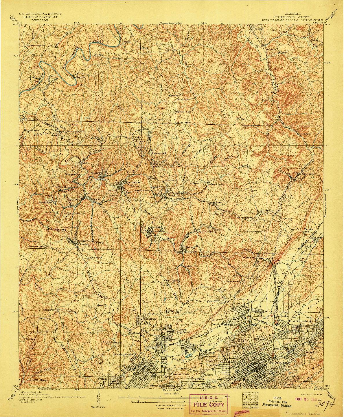 USGS 1:62500-SCALE QUADRANGLE FOR BIRMINGHAM SPECIAL, AL 1906