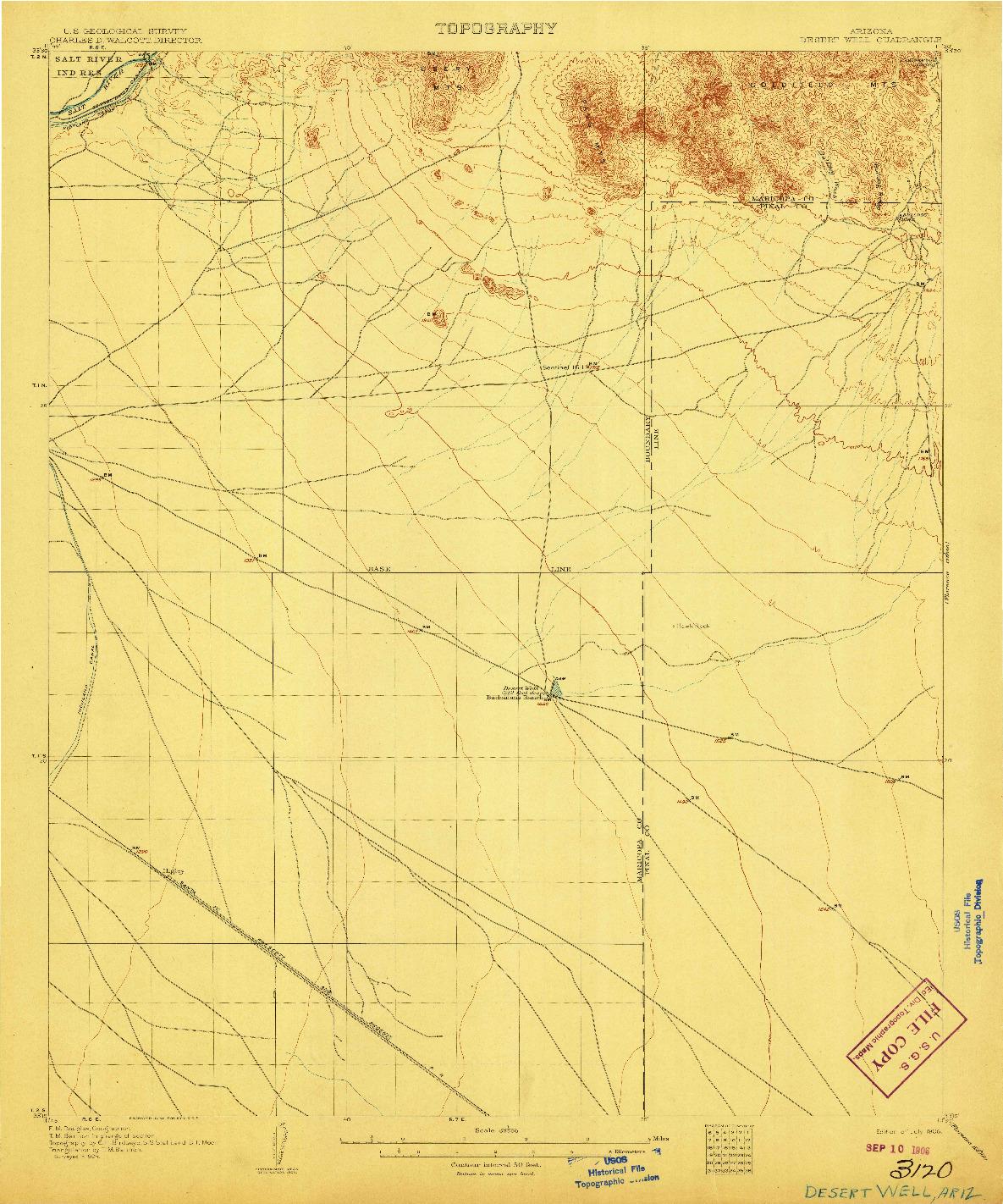 USGS 1:62500-SCALE QUADRANGLE FOR DESERT WELL, AZ 1906