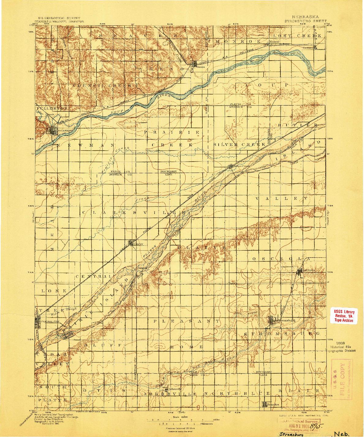 USGS 1:125000-SCALE QUADRANGLE FOR STROMSBURG, NE 1896