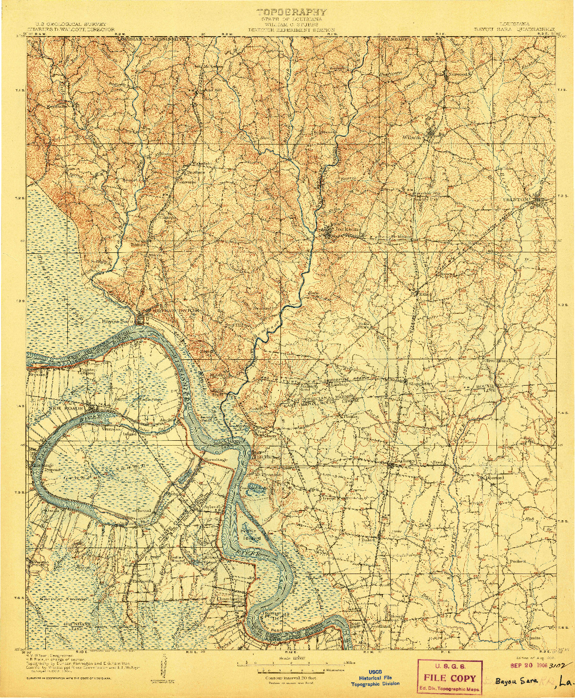 USGS 1:125000-SCALE QUADRANGLE FOR BAYOU SARA, LA 1906