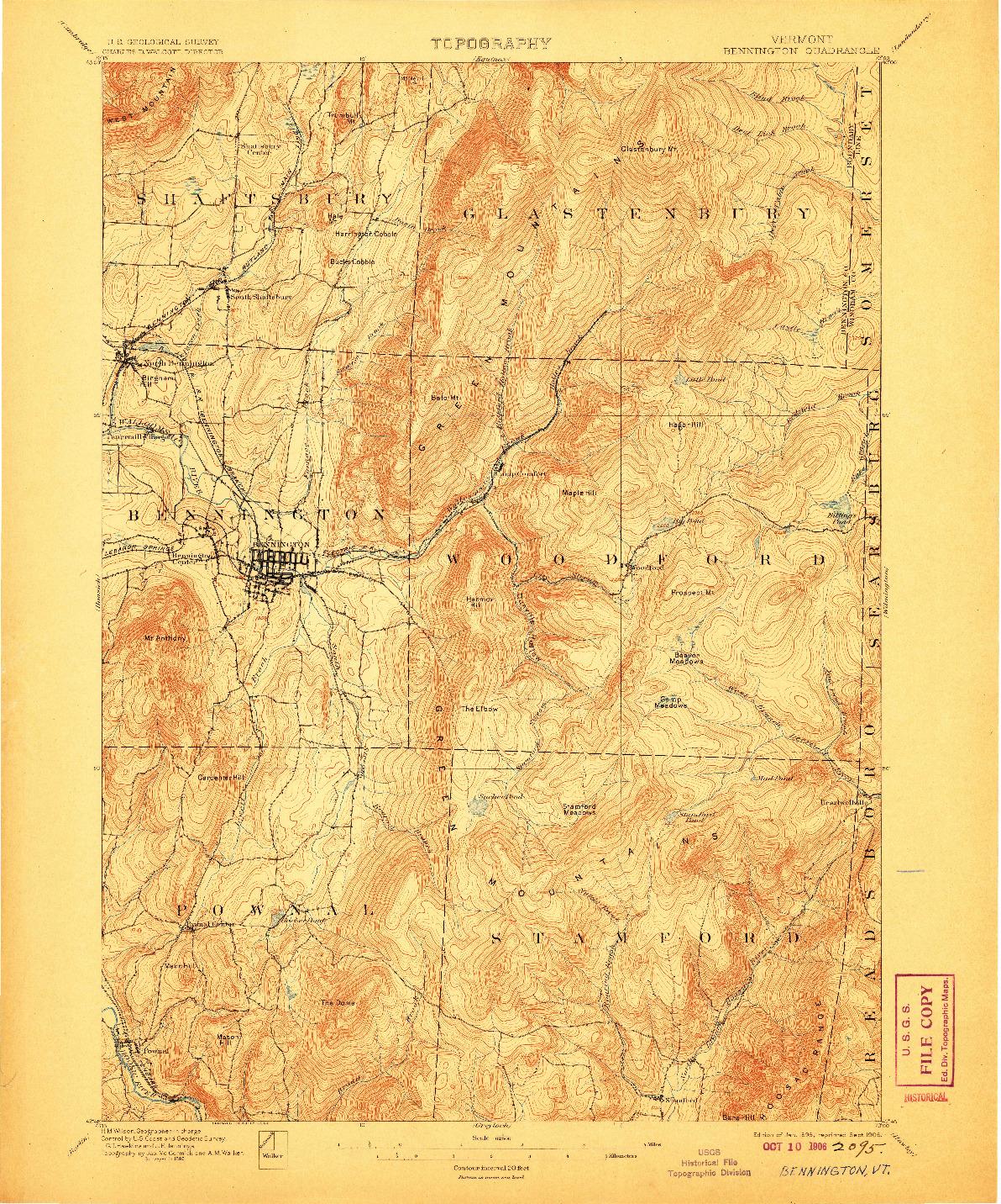 USGS 1:62500-SCALE QUADRANGLE FOR BENNINGTON, VT 1898