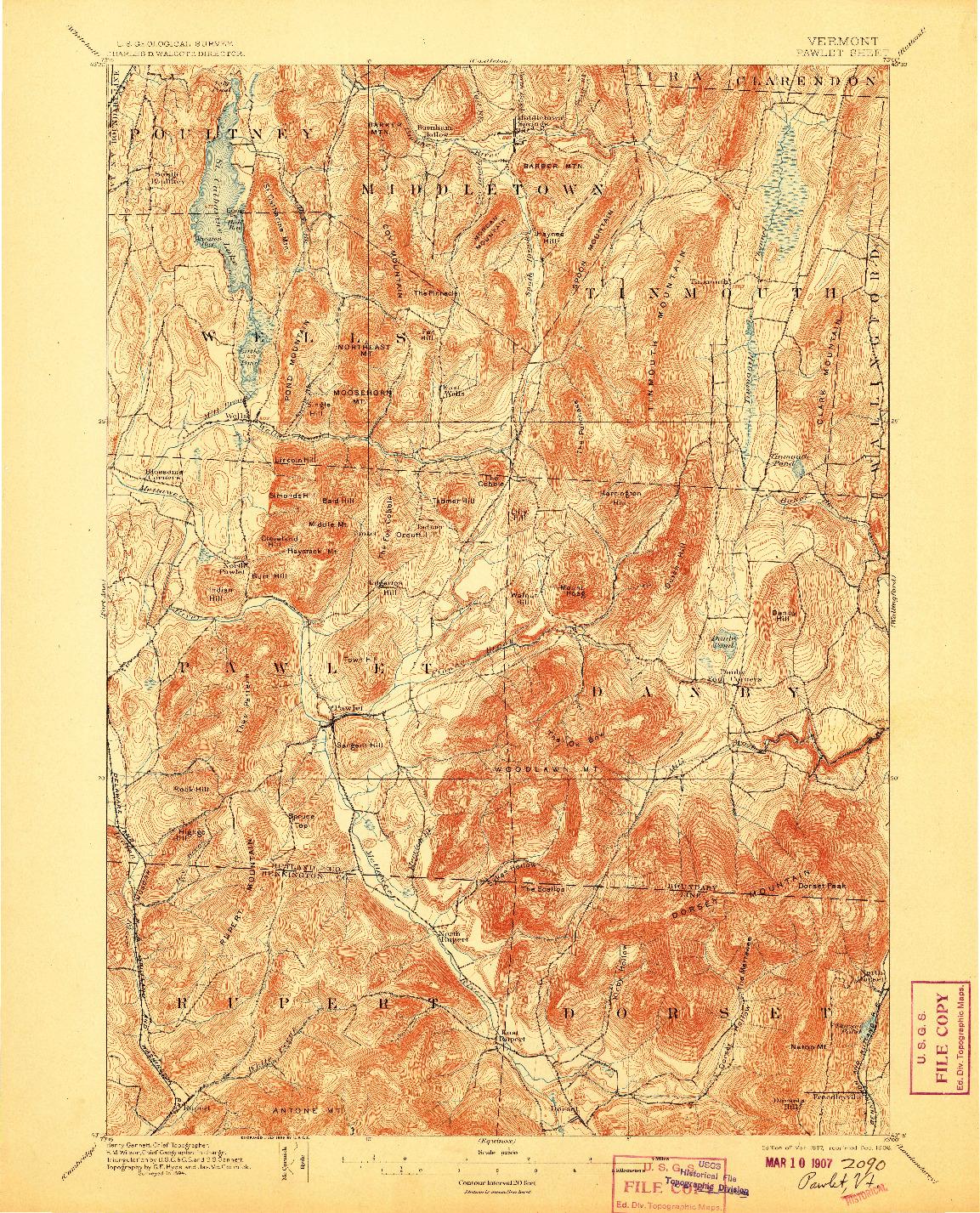 USGS 1:62500-SCALE QUADRANGLE FOR PAWLET, VT 1897