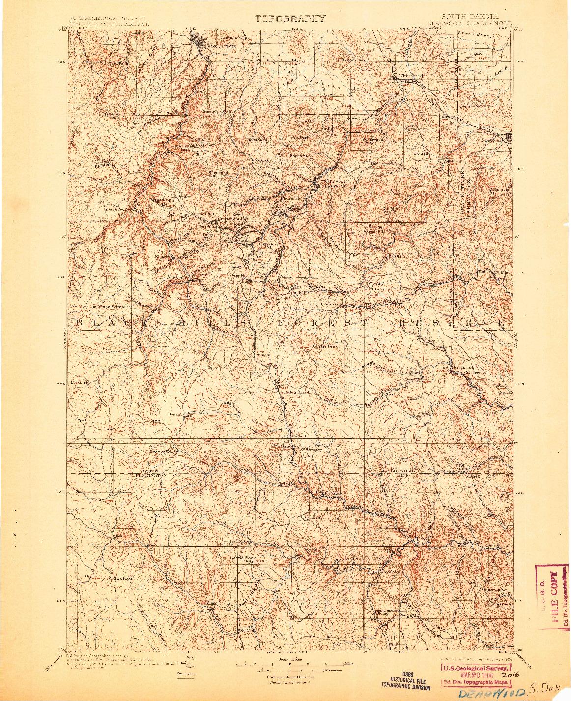 USGS 1:125000-SCALE QUADRANGLE FOR DEADWOOD, SD 1901