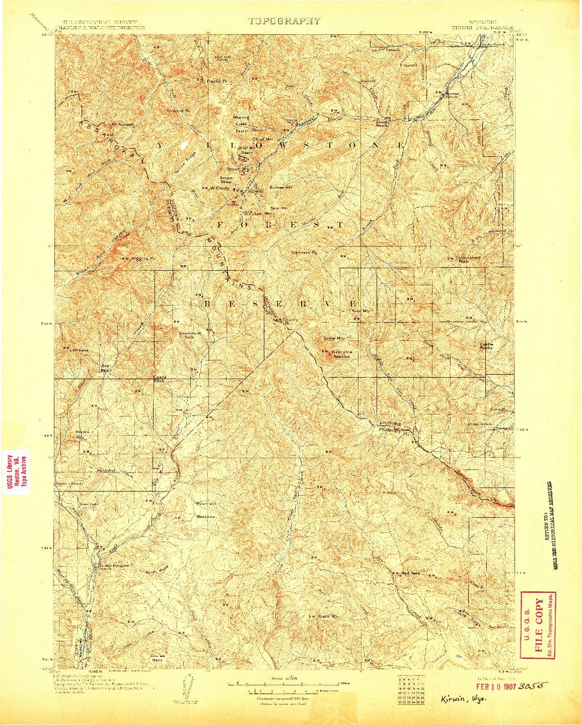 USGS 1:125000-SCALE QUADRANGLE FOR KIRWIN, WY 1906