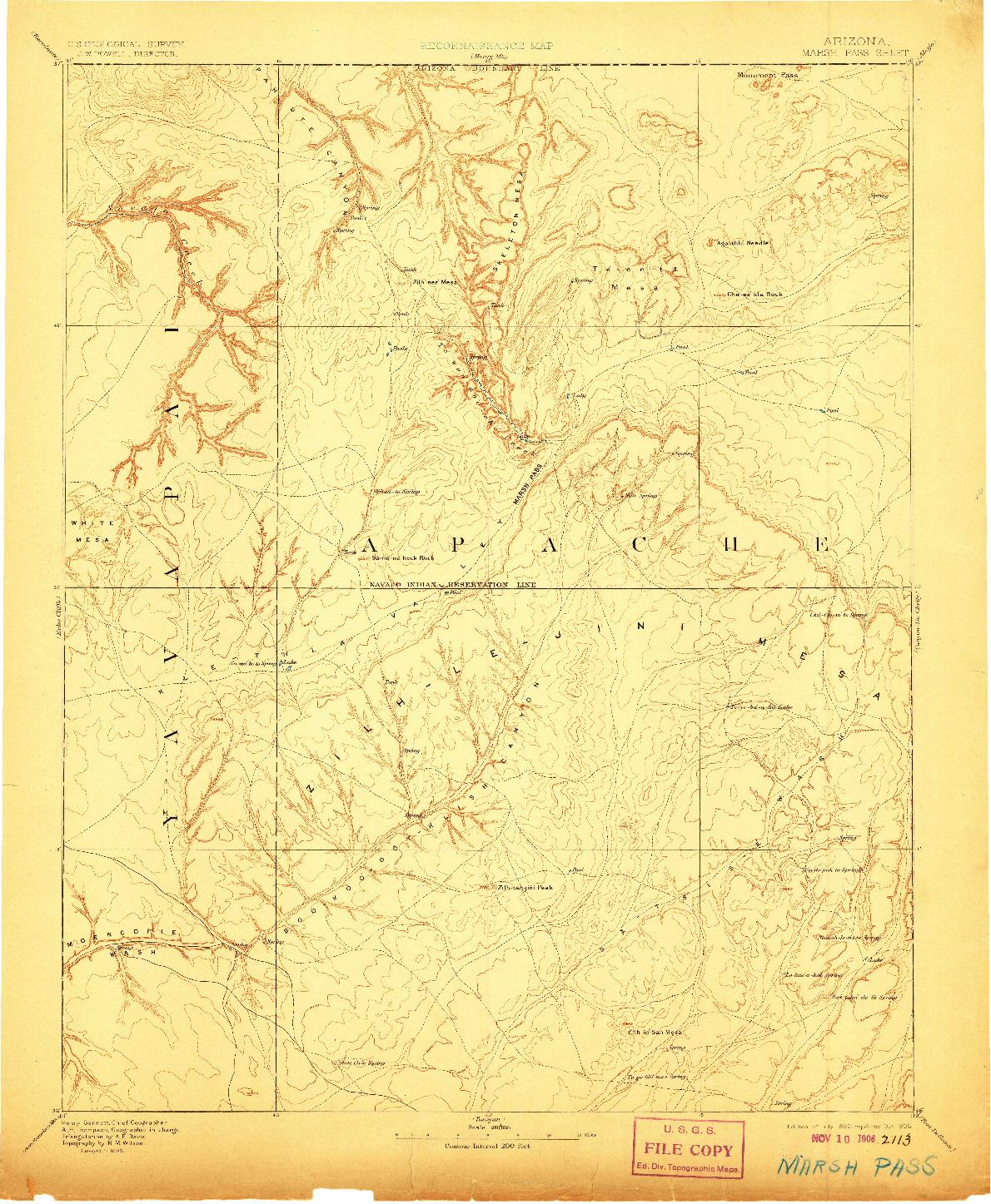 USGS 1:250000-SCALE QUADRANGLE FOR MARSH PASS, AZ 1892
