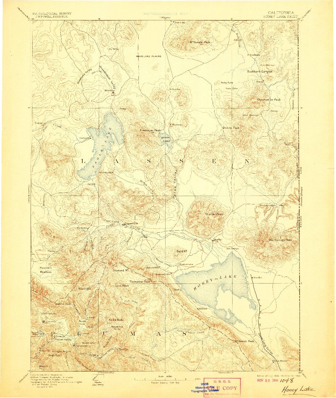 USGS 1:250000-SCALE QUADRANGLE FOR HONEY LAKE, CA 1893
