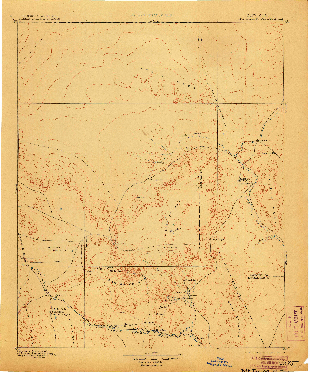 USGS 1:250000-SCALE QUADRANGLE FOR MT. TAYLOR, NM 1899