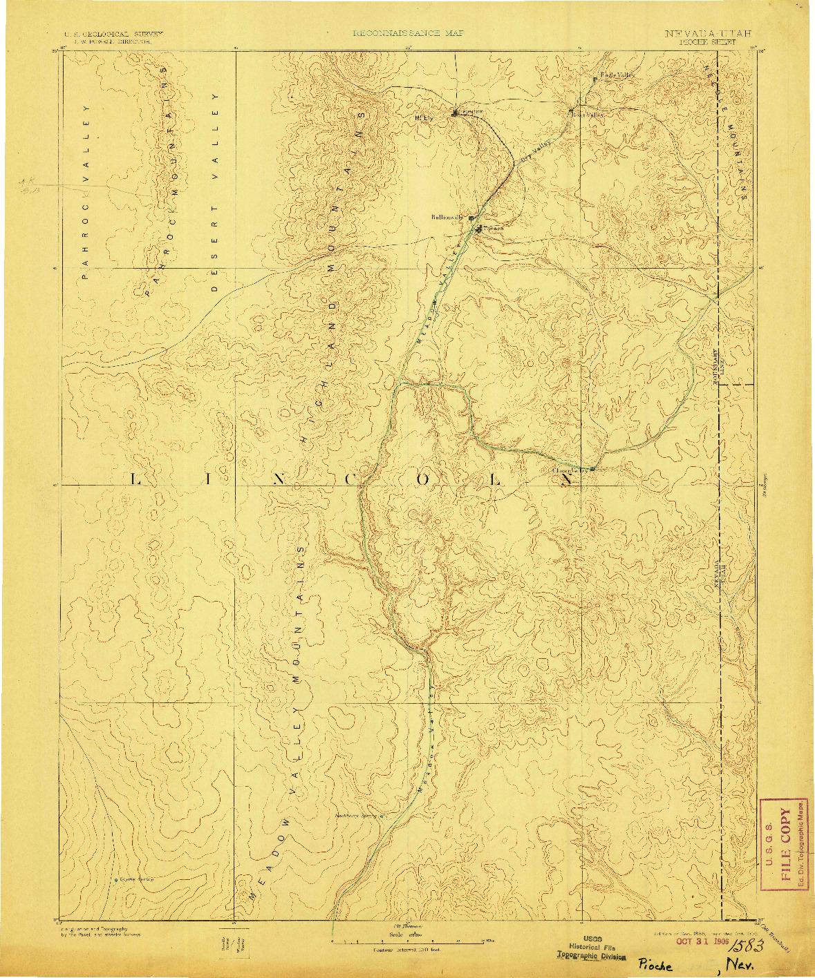 USGS 1:250000-SCALE QUADRANGLE FOR PIOCHE, NV 1885