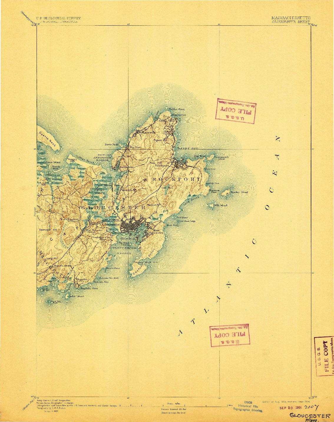 USGS 1:62500-SCALE QUADRANGLE FOR GLOUCESTER, MA 1893
