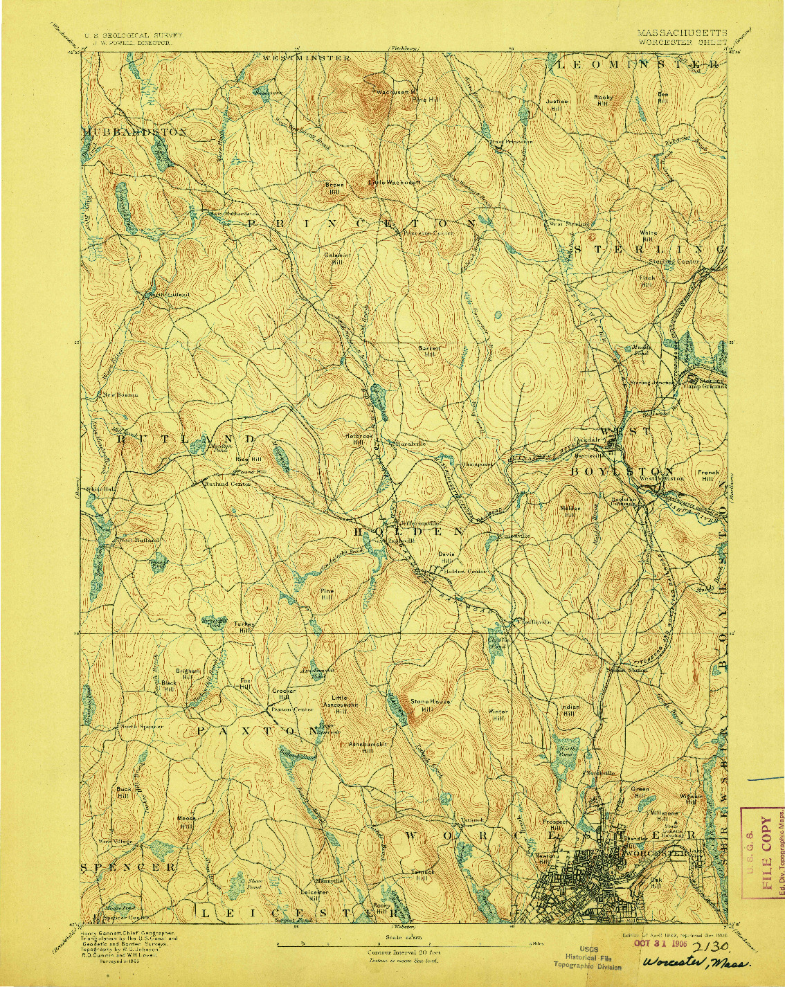 USGS 1:62500-SCALE QUADRANGLE FOR WORCESTER, MA 1892