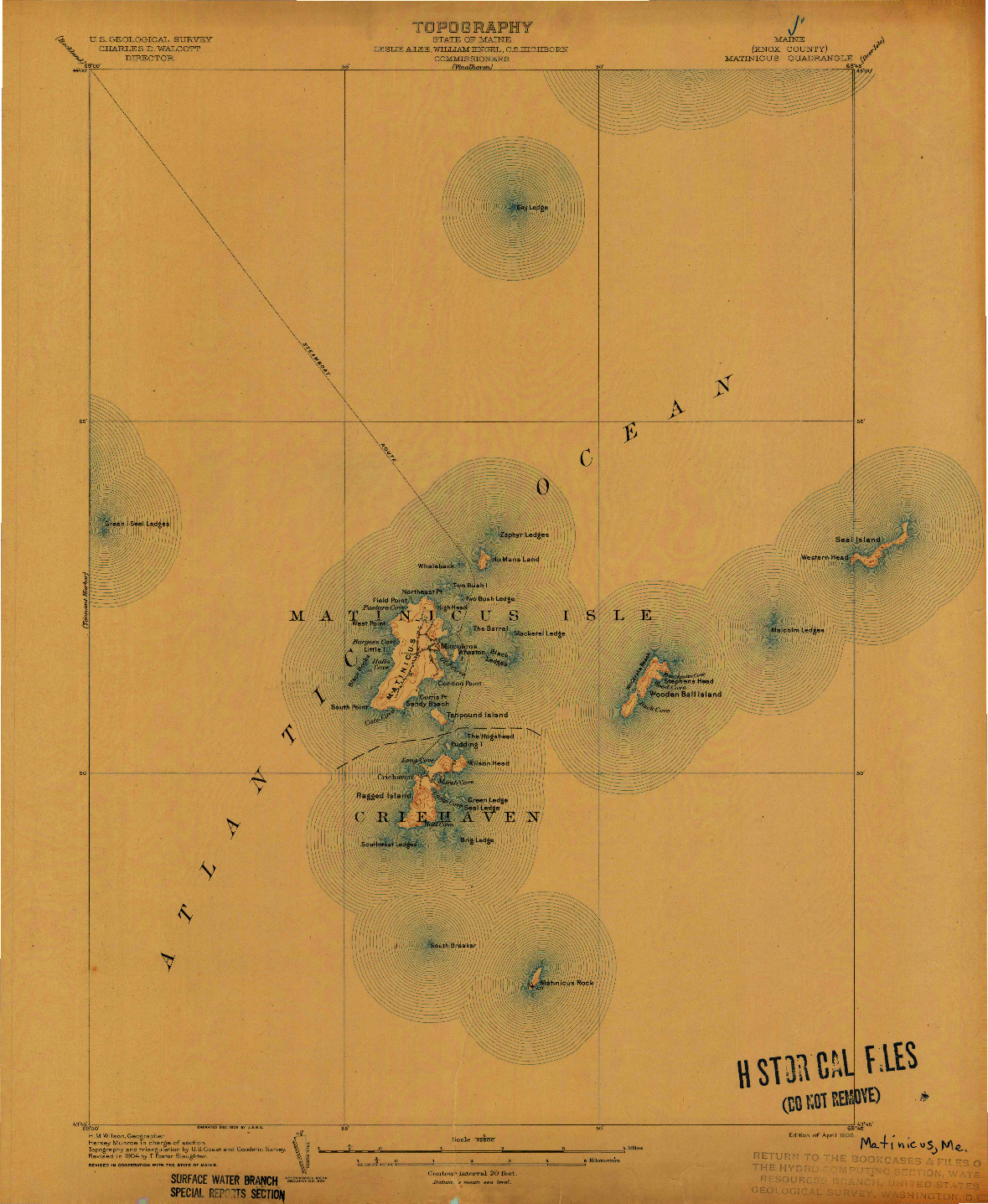 USGS 1:62500-SCALE QUADRANGLE FOR MATINICUS, ME 1906
