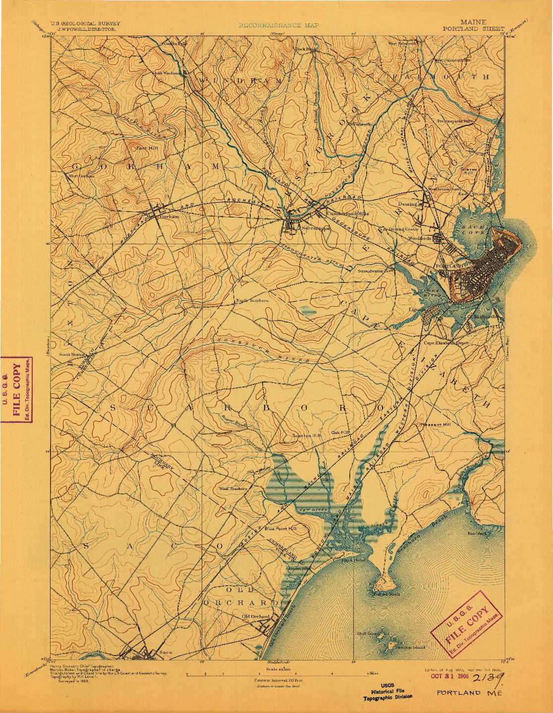 USGS 1:62500-SCALE QUADRANGLE FOR PORTLAND, ME 1893