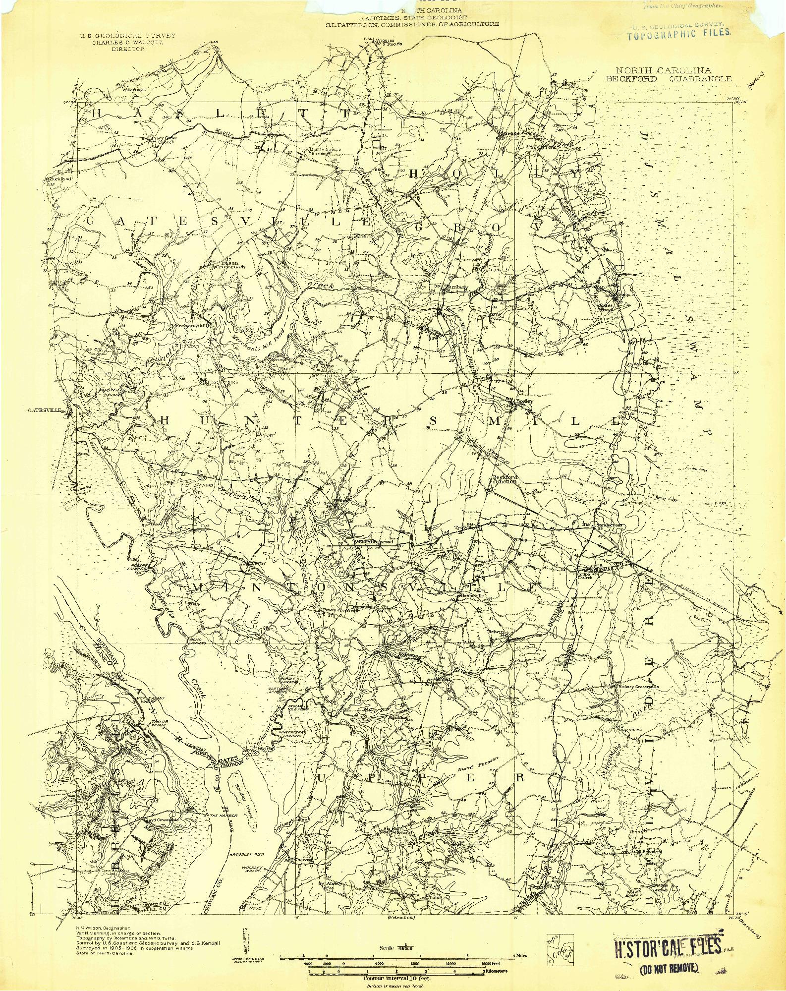 USGS 1:48000-SCALE QUADRANGLE FOR BECKFORD, NC 1906