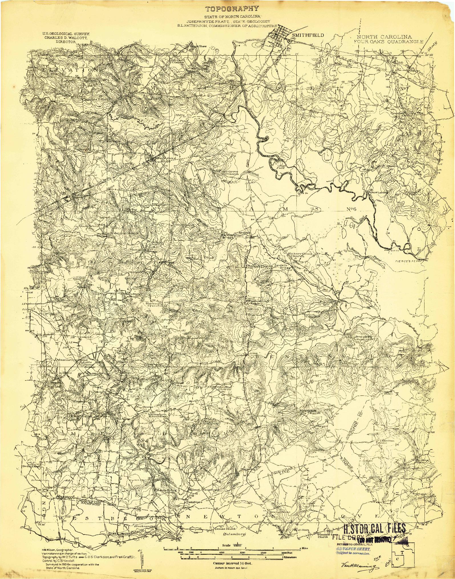 USGS 1:48000-SCALE QUADRANGLE FOR FOUR OAKS, NC 1906